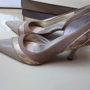 AK Anne Klein beige d'orsay kitten heels